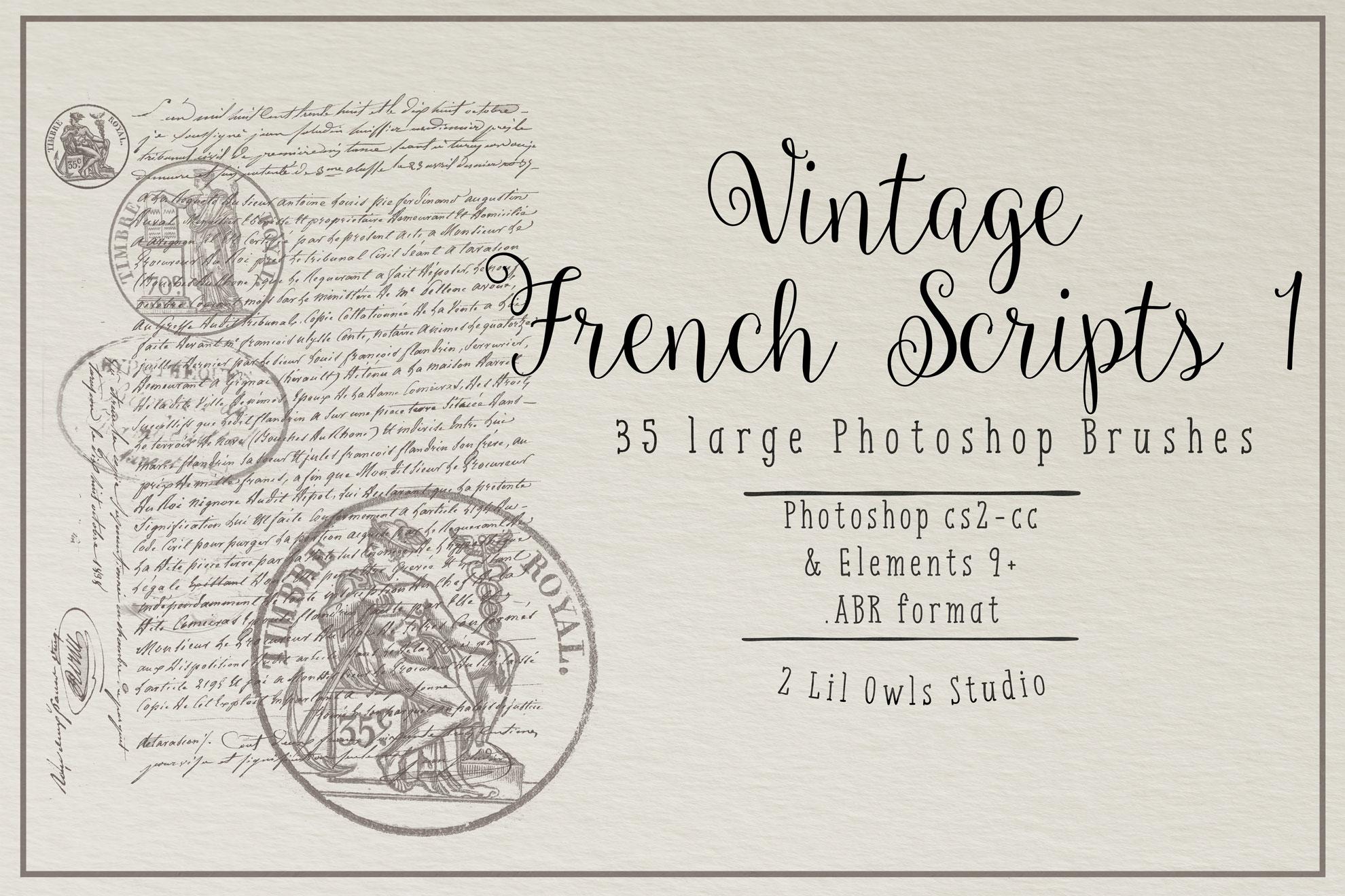Vintage French Script 1 Photoshop Brushes