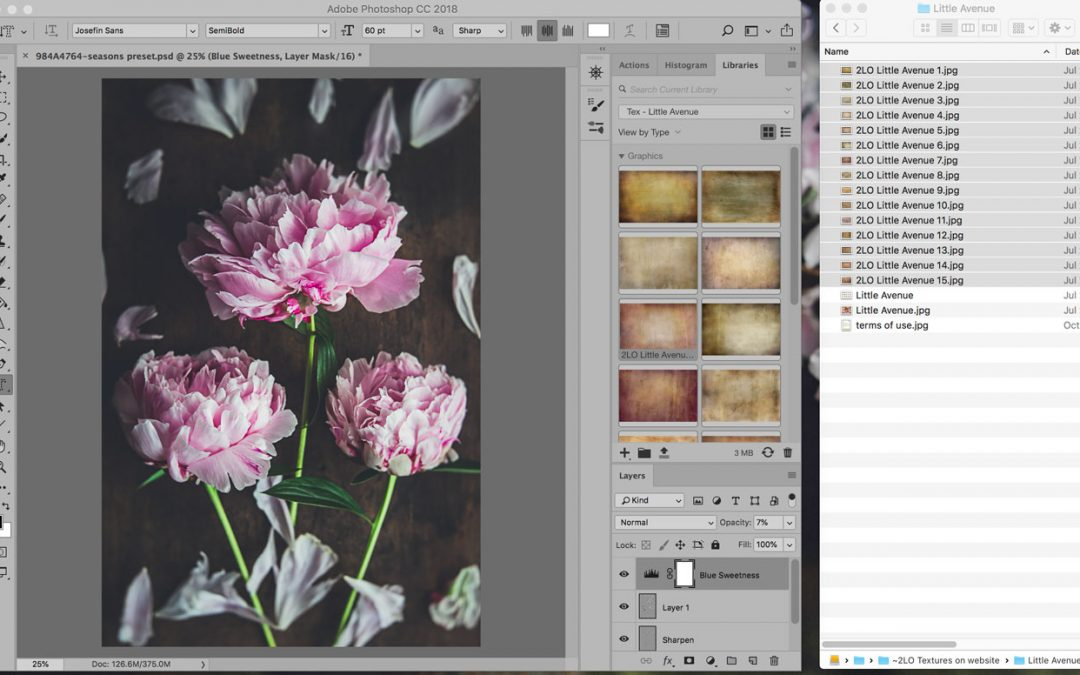 Learn to use Photoshop libraries to organize and use textures